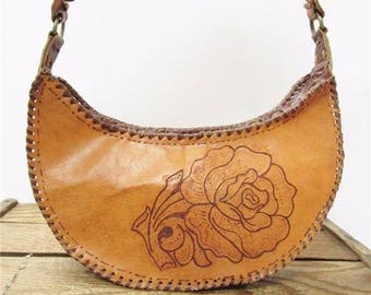 Vintage Handmade Burned Tooled Leather Pyrography Flower Hobo Bag Shoulder Purse