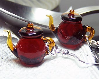 Tiny Brown Betty teapot dangle earrings- handmade transparent red brown solid glass earrings