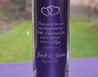 Personalized Engraved Glass Wedding Candle Holder/Vase, Custom Anniversary Gift - Three Sizes Available (#8)