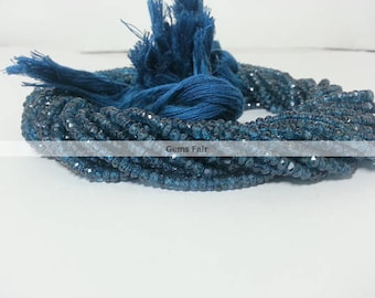 13 Inch London Blue Topaz Faceted Rondelle Beads Strand - Natural Blue Topaz Beads - Blue Topaz Rondelle - London Blue Topaz Beads