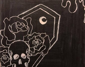 """Skull and Coffin Marker Drawing """"We All Die Eventually"""""""