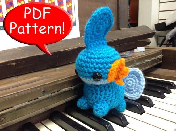 Pdf Pattern For Crocheted Mudkip Amigurumi Doll Toy Plushie