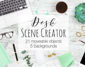 Desk Scene Creator, Top View Moveable Mockup, Card Mock Up, Mint and Gold Props, Desk Top Scene, Stock Photography Templates