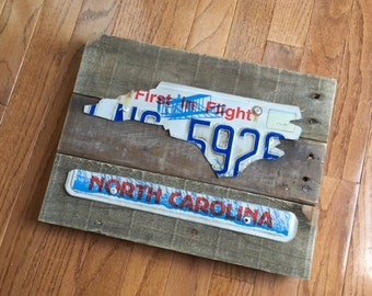 NC License Silhouette on Pallet Wood (Deluxe)