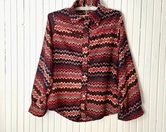 Zig zag retro shirt Wine red office blouse SIZE M
