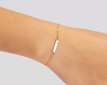 Tiny Skinny Bar Bracelet, Personalized Silver, Gold fill or Rose Gold fill Thin Name Plate Bar Bracelet, Bridesmaids Gifts Jewelry