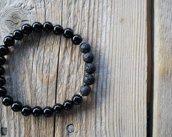 Essential oil diffuser bracelet yoga bracelet mala beads black onyx bracelet meditation beads yoga beads lava beads