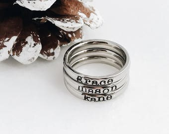 Stainless Steel Ring, Hand Stamped, Personalized Ring, Stacking Ring