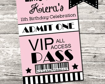 Limo Pass VIP Pass Backstage Pass Birthday Party Favor Digital Printable
