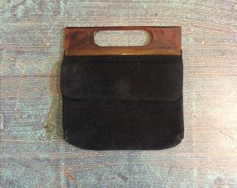 Vintage 60's black velvet and tortoise shell lucite evening clutch