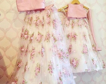 Mother daughter matching dress with crop top and floral skirt