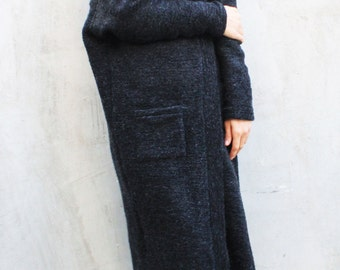 Long Wool Vest/Loose Top/Extravagant Coat/Extra Warm Top/Knitted Tunic/Soft Winter Top/Long Sleeved Vest by Fraktura V0012