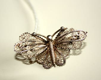 silver butterfly filigree broach, filigree broach,butterfly broach gift for her