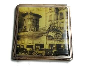 FRENCH MIRROR COMPACT Gold Tone Vintage Purse Mirror Paris Moulin Rouge Top Retro Compact Mirror