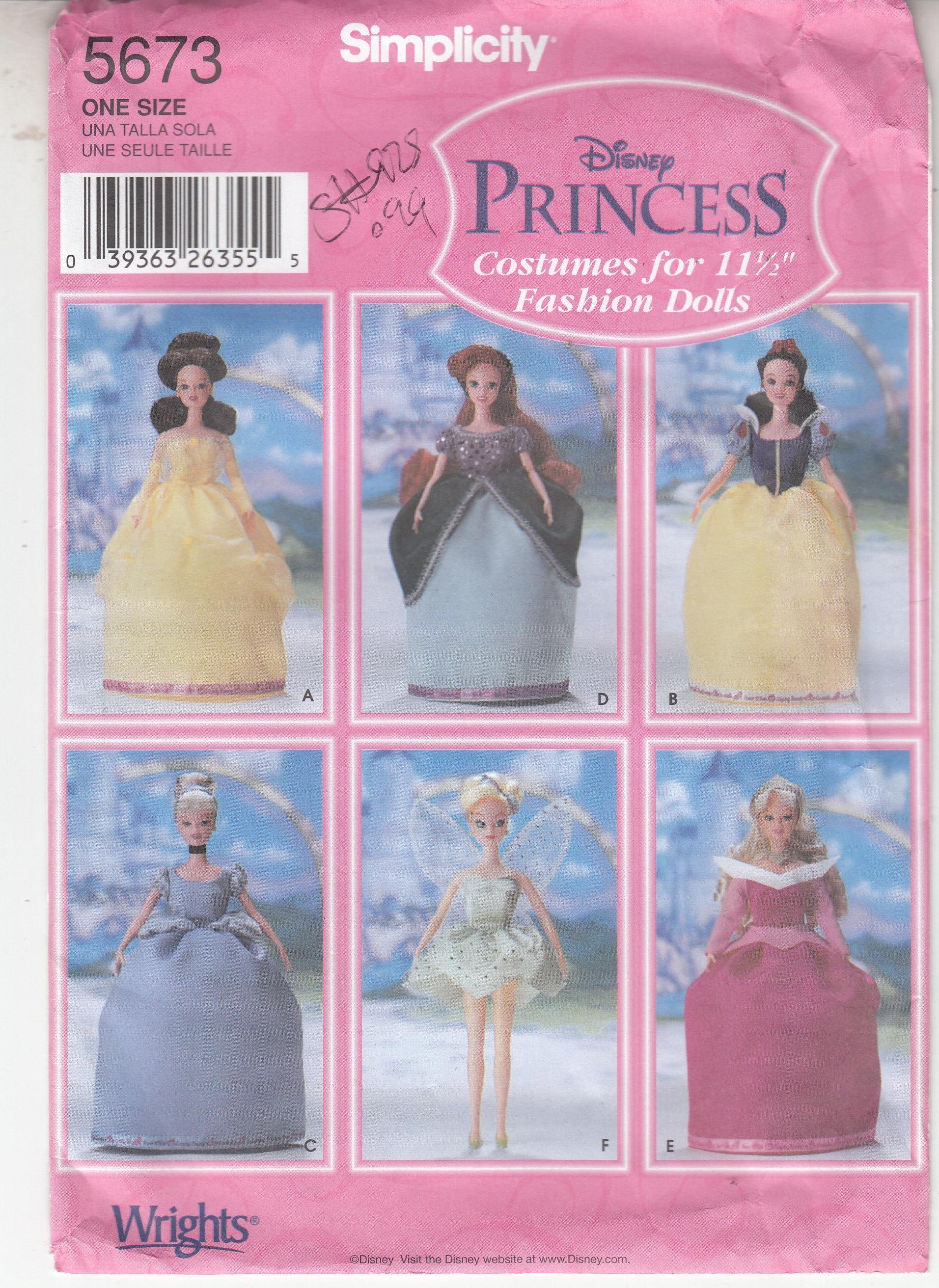 Fashion Doll Costumes Belle Snow White Cinderella Ariel