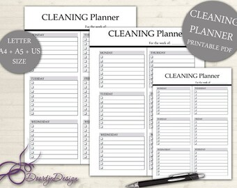 Printable Planner Cleaning, WEEKLY CLEANING, Planner page Cleaning, Cleaning planner, Cleaning checklist, Housekeeping, instant download