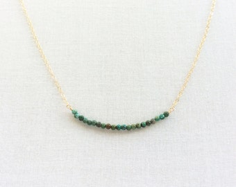 Tiny Turquoise Necklace, Dainty Turquoise Necklace, Gold Turquoise Necklace, Small Turquoise Necklace, Turquoise Bead Necklace, GBN12
