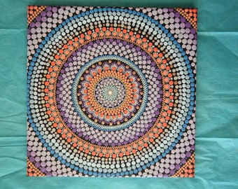 "Hand painted purple, blue, and coral mandala on canvas 12""x12"" dot pointillism art"