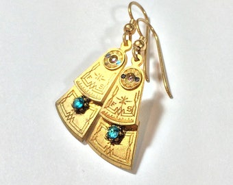Steampunk Earrings - Antique Watch Parts, Gold Plated Brass Balance Cocks, Blue Crystals