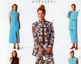 Free Us Ship Sewing Pattern Butterick 4195 Lifestyle Wardrobe Asian Inspired Dress Top Pants Jacket Purse Handbag Size 8 10 12 14 16 18 New