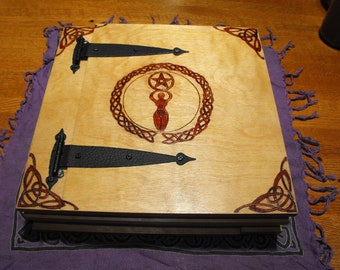 Dual Sided, Expandable Wooden Book of Shadows, Custom designs upon request