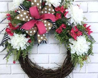 Flower Wreath, Grapevine Wreath, Summer Wreath, Front Door Decor, Front Porch Decor, Indoor Wreath, House Warming Gift