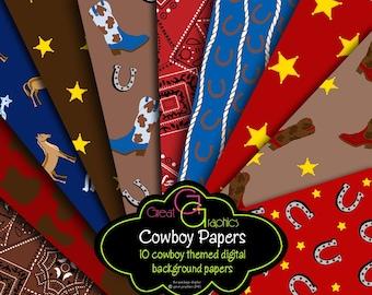 Cowboy Paper Cowboy Party Paper Cowboy Digital Paper Cowboy Printable Western Party Paper - Instant Download