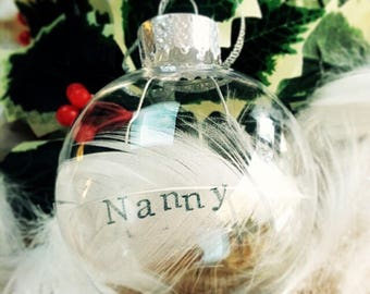 Personalised Glass Bauble with name Feather Christmas Keepsake