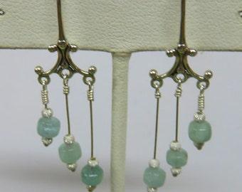 Aquamarine Earrings - Chandelier-Style Aquamarine Dangle Earrings - March Birthstone Earrings