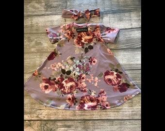 2-3T Burgundy Floral on Dust Mauve Short Sleeve Tshirt Dress w Headband