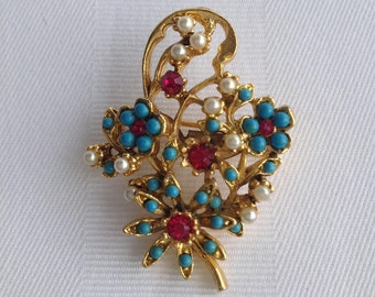 Vintage Coro Floral Flower Bouquet Brooch with Fuchsia Rhinestones, Faux Pearl and Turquiose