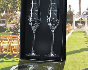 2 Diamante Champagne Flutes with Modena Spiral Cutting in an attractive Gift Box-SL441
