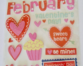 "CLEARANCE ** Soft Spoken - ""February"" Dimensional Sticker/Embellishment Pack"