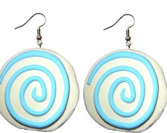 Handmade polymer clay blue spiralling earrings