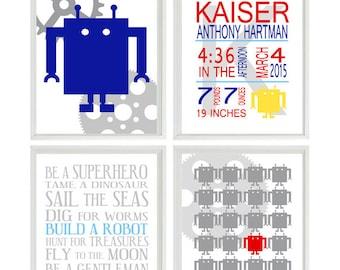 Robot Wall Art, Boy Room Art, Boy Rules Print, Be Yourself, Robot Birth Stats, Toddler Room Deocr, Robot Nursery, Boy Bedroom, Name Print