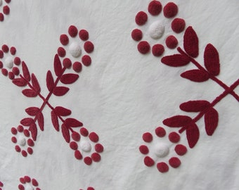 Beautiful, Rare But VERY FLAWED Burgundy / Maroon & Plump Snowball Centered Flowers Vintage Chenille Bedspread Cabin Crafts