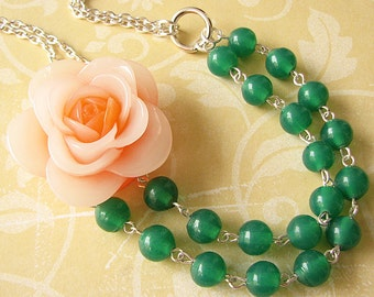 Emerald Jewelry Statement Necklace Resin Flower Necklace Green Necklace Beaded Necklace