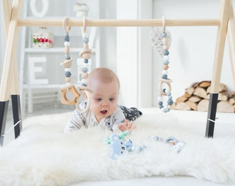 Classic baby wooden gym with 3 toys / Perfect baby nursery decor / Montessori activity center