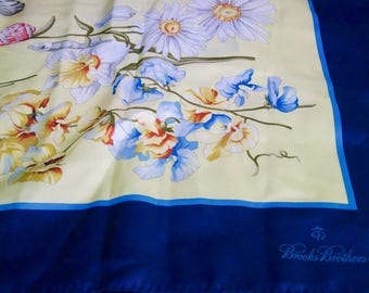 Brooks Brothers Seashell And Floral Silk Scarf
