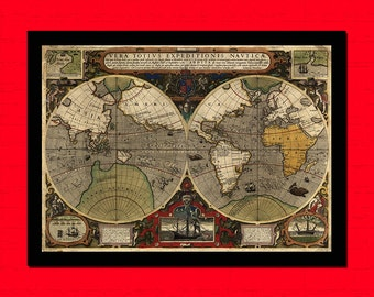 Old  Map of Vera Totivs Expeditionis Navtica Old Map Art Reproduction Home Design Vintage Retro Map Reproduction Vintage Map Reproduction
