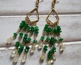 Bohemian Chandelier Crystal Earrings, Green Agate Stones, Citrine Briolette Stones, Gold Filled, Gypsy, Yoga, Spiritual, Unique Gift for Her