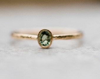Green sapphire ring, 14k gold ring, Sapphire Engagement Ring, Gemstone ring, September birthstone, Sapphire jewelry