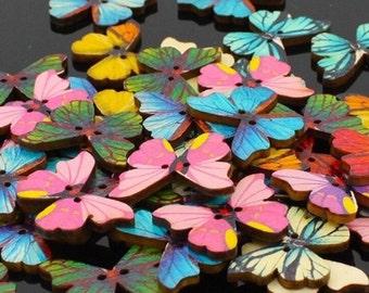 Butterfly Buttons Mixed Coloured Butterfly Shape Wooden Buttons - Sewing  Event Butterflies Wood Scrapbooking Embellishment