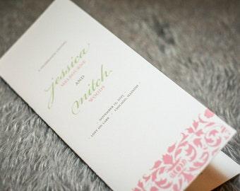 """Damask Wedding Programs, Elegant Booklet Programs, Pink and Green, Blush and Mint - """"Elegant Damask"""" Folded Booklet Program - DEPOSIT"""