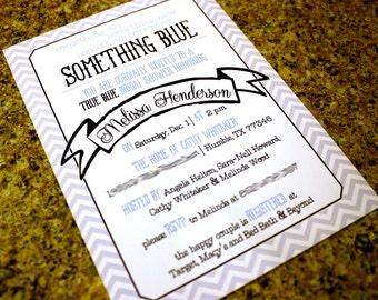 Chevron Something Blue Bridal Shower Invitation