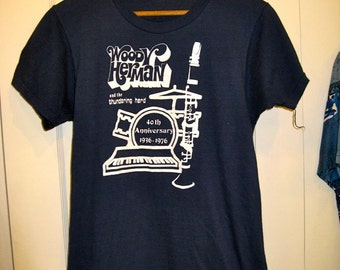 Vintage 1970's Woody Herman & the Thundering Herd Big Band Swing Jazz 1976 T-shirt size Large looks Size Small