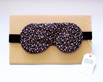 Sleeping mask, sleep - blue night/flower pattern (hide-eyes, rest, sleep, NAP)