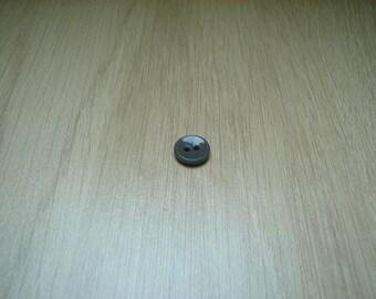 bouton pate de verre gris deux passage