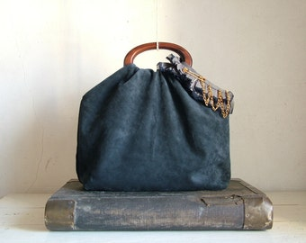 SALE Boho Urban Glam Chain Tote in Midnight Blue Luxury Calfskin - 15% off marked price with coupon code 'summer15'