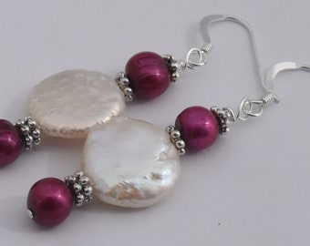 """Cranberry Freshwater Pearl Earrings, Sterling Silver, Freshwater Coin Pearls, Dangles, 1.25"""""""